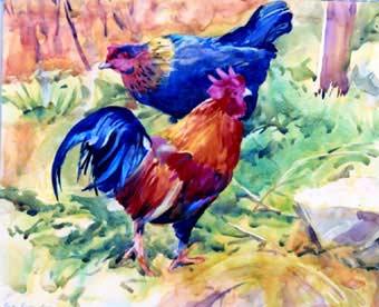 yagli-boya-horoz-tavuk-resimleri